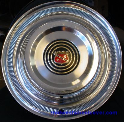 """1958-BUICK, Hubcap, 15"""", 58, BUICK, PASS, POLISHED FINISH, POLISHED OUTER RING, SOLID BAND OF ..."""